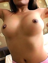 Beautiful dark nipples on horny Thai slut Mo