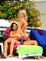 Sunbathing teen vixens strapon fuck