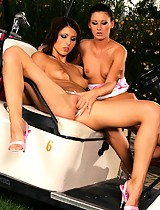 Ravishing brunettes strip and rub